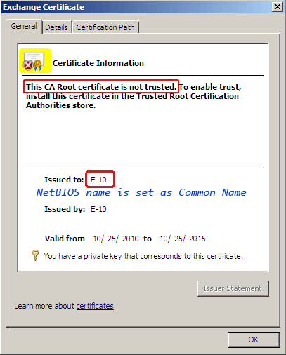 It uses the short NetBIOS name of Exchange Client Access server as a