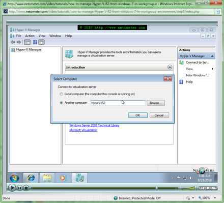 How to manage Hyper-V Server 2008 R2 Remotely from Windows 7 in Workgroup